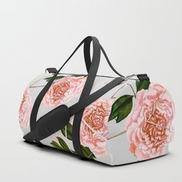 Pattern peonies and golden triangles Duffle Bag