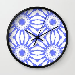 Periwinkle Blue Pinwheel Flowers Wall Clock