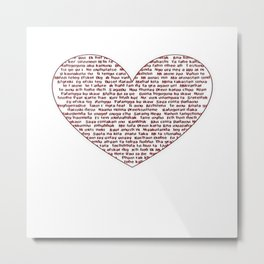 I Love You All Over My Heart Metal Print