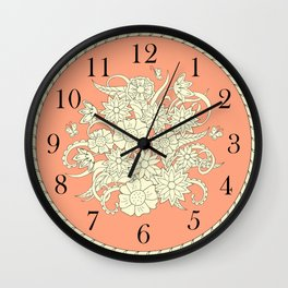orange floral composition in the frame Wall Clock