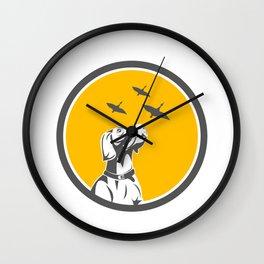 English Pointer Dog Looking at Geese Circle Retro Wall Clock