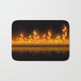 Fire flames on black background Bath Mat
