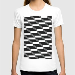 3d wall of cubes and shadows T-shirt