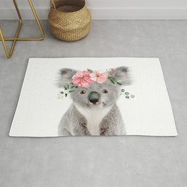 Baby Koala with Flower Crown Rug
