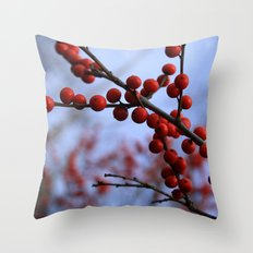 Red Winterberries Throw Pillow