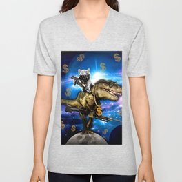 Cat Kitty Travel through Galaxy on Dinosaur T-rex with Guns and Golden chains Swag money dollars Unisex V-Neck