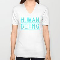 human V-neck T-shirts featuring Human by PsychoBudgie