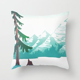 View from 217 - Vintage Inspired Mid Century Style Watercolor Landscape Snow Mountain Throw Pillow
