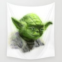 yoda Wall Tapestries featuring Yoda by KitschyPopShop