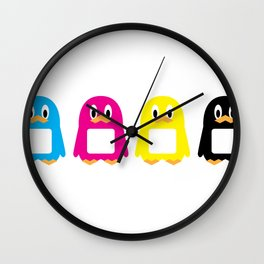 Four-Color Penguins Wall Clock