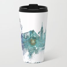 New York City Skyline blue Travel Mug