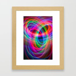 Spirograph rainbow light painting Framed Art Print