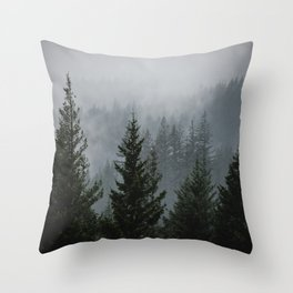 Forest Fog Mountain V - Wanderlust Nature Photography Throw Pillow