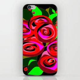 A Bouquet or Roses with a Black Background iPhone Skin