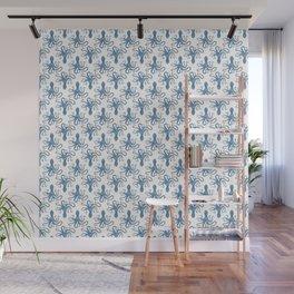 Octopus blue watercolor pattern - Lo Lah Studio Wall Mural