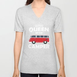 Queen Of The Camper product Gift Funny Camping Camp design Unisex V-Neck
