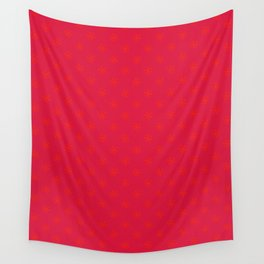 Scarlet Red on Crimson Red Snowflakes Wall Tapestry