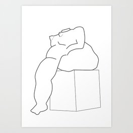Drawing of a Botero statue, Medellin, Colombia Art Print
