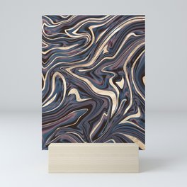 Mauve Blue Black White Gold Marble #1 #decor #art #society6 Mini Art Print