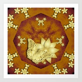 gold butterfly and flowers on copper mandala Art Print