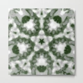 Green and White Kaleidoscope Metal Print