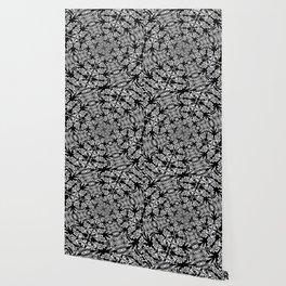 Fallen Leaves Black and White Kaleidescope Wallpaper