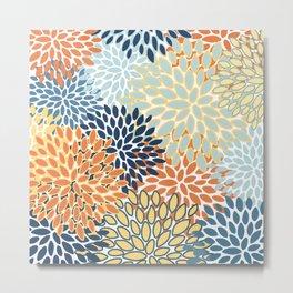 Modern, Floral Prints, Orange, Blue, Yellow Metal Print