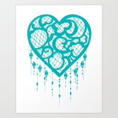 Heart-Catcher Teal Art Print
