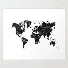 WORLD MAP • BLAC MARBLE Art Print