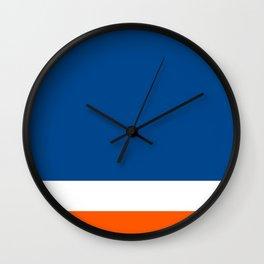 UNEVEN BRILLIANT BLUE DAZZLING WHITE COSMIC ORANGE STRIPED Wall Clock