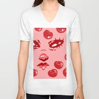 cherry V-neck T-shirts featuring cherry  by pharm