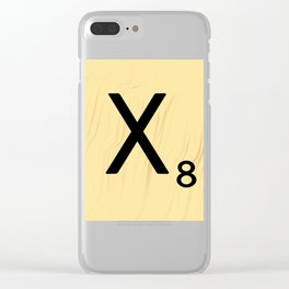Scrabble X Initial - Large Scrabble Tile Letter Clear iPhone Case