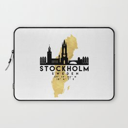 STOCKHOLM SWEDEN SILHOUETTE SKYLINE MAP ART Laptop Sleeve