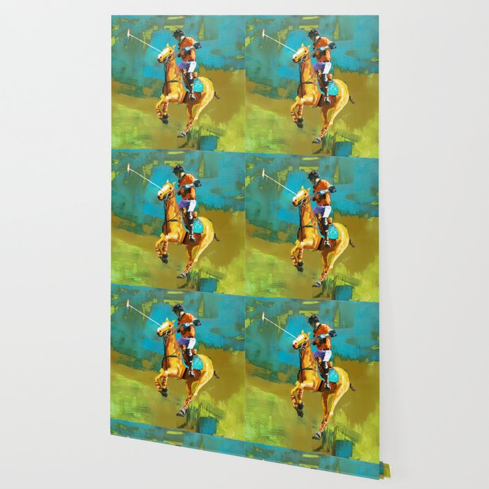 poloplayer abstract turquoise ochre Wallpaper