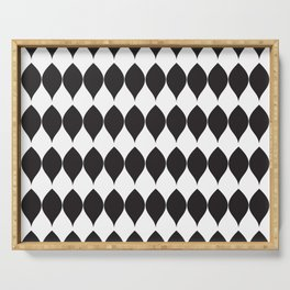 Geometric Modern Black & White Leaves Serving Tray