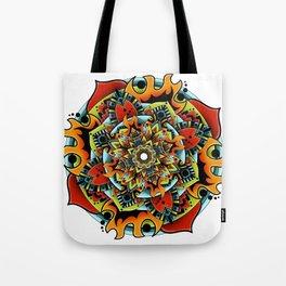 Flame Flower Mandala Tote Bag