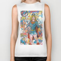supergirl Biker Tanks featuring Vintage Comic Supergirl by Dave Seedhouse.com