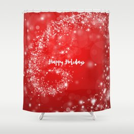 Modern Stylish Red White Christmas Typography Shower Curtain