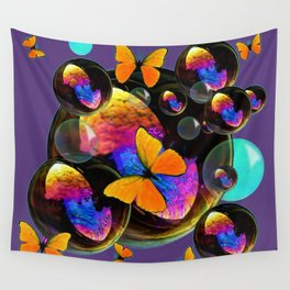 COLORFUL FUN  BUBBLES & YELLOW BUTTERFLIES PURPLE FANTASY Wall Tapestry