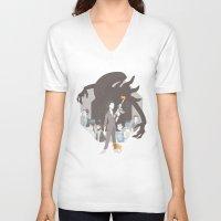 alien V-neck T-shirts featuring Alien by Florey