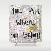 minneapolis Shower Curtains featuring Where You Belong-Minneapolis by The Little Illustrator