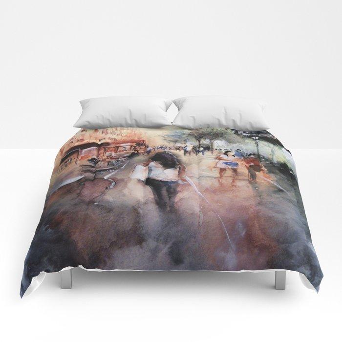 Promenade rue Saint-Martin - Paris painting Comforters