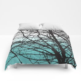 tree blue and white ombre Comforters