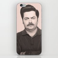 swanson iPhone & iPod Skins featuring Ron Swanson by Alexia Rose