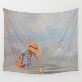 Collecting Sea Shells Wall Tapestry