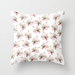 Hand painted modern pink brown watercolor peonies dove pattern Throw Pillow