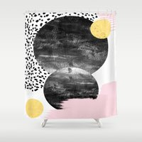 college Shower Curtains featuring Roussel - pink pastel girly hipster trendy art decor dorm college brooklyn abstract minimal painting by CharlotteWinter