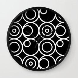 Circles - White on Black 1 Wall Clock