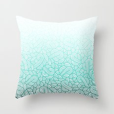 Gradient turquoise blue and white swirls doodles Throw Pillow