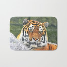 Water color digital illustration of Amur Tiger Bath Mat